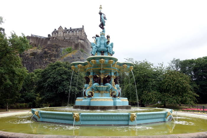 Newly refurbished Ross Fountain in front of Edinburgh Castle